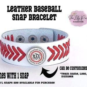 Leather Baseball Custom Snap Bracelet