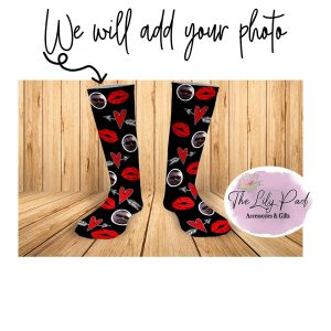 Black with Red Lips Valentine Face Socks