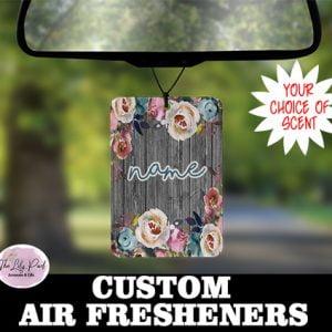 Grey Indigo Floral Personalized Air Freshener