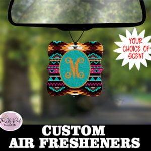 Teal Aztec Print Personalized Air Freshener