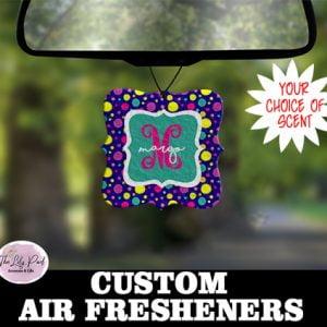 Funky Navy Polka Dot Personalized Air Freshener