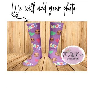 Purple Love Heart Valentine Face Socks