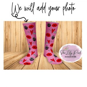Pink with Red Lips Valentine Face Socks