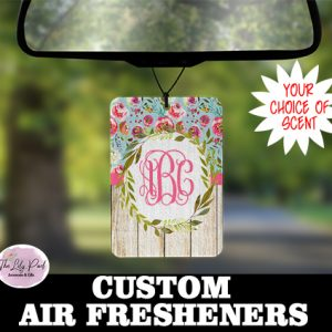 Pink Wood Floral Personalized Air Freshener