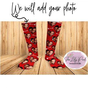 Photo Heart Red Arrow Valentine Face Socks