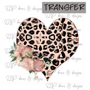 Rose Cheetah Floral Heart-Transfer