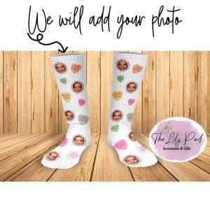 Conversation Heart Valentine Face Socks