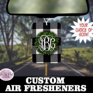 Boxwood Wreath Plaid Personalized Air Freshener