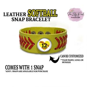 Leather Softball Custom Snap Bracelet