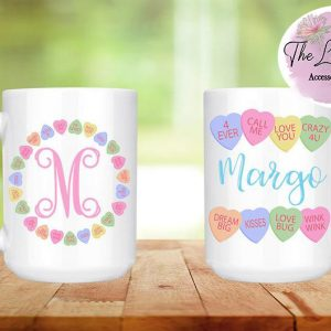 Conversation Hearts Personalized-Ceramic Mug with Name Option