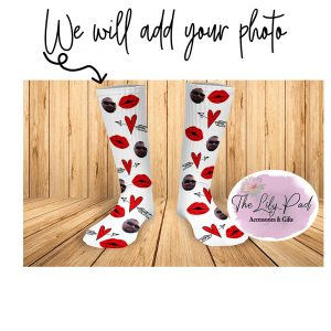 White with Red Lips Valentine Face Socks