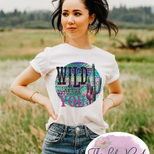 Wild about You Cactus Leopard White Graphic Tee