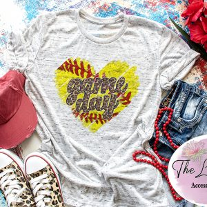 Distressed Softball Heart Game Day Cheetah Graphic Tee