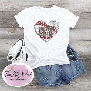 Distressed Baseball Heart Game Day Cheetah Graphic Tee