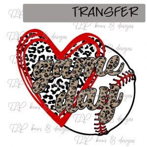 Cheetah Heart GameDay Baseball -Transfer