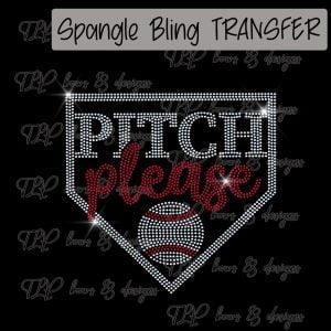 Pitch Please Home Plate Baseball -SPANGLE