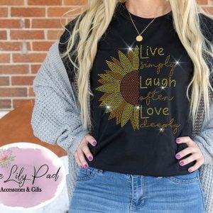 Live Laugh Love Sunflower Bling Tee