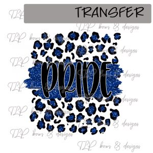 Cheetah Print Pride Blue Faux Glitter -Transfer