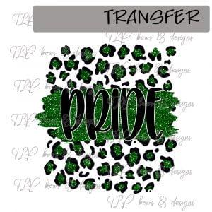 Cheetah Print Pride Green Faux Glitter -Transfer