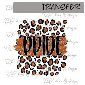 Cheetah Print Pride Orange Faux Glitter -Transfer