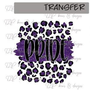 Cheetah Print Pride Purple Faux Glitter -Transfer