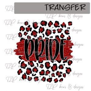 Cheetah Print Pride Red Faux Glitter -Transfer