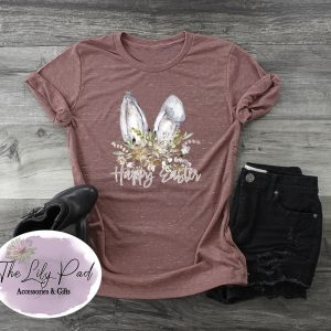 Happy Easter Watercolor Floral Bunny Ears Graphic Tee