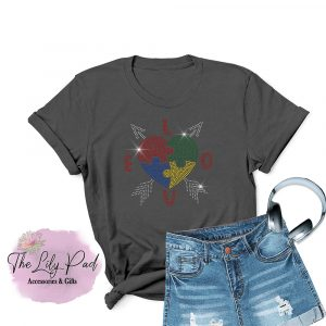Autism Awareness Love Puzzle Bling Tee