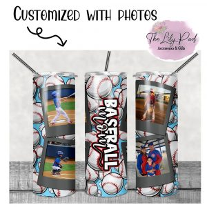 Baseball Mom Personalized with Photos Skinny Tumbler