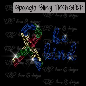 Be Kind Autism Awareness Ribbon-SPANGLE