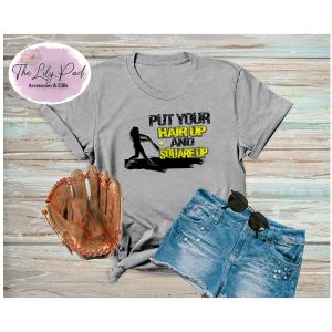 Put Your Hair Up and Square Up Softball Graphic Tee