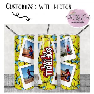 Softball Mom Personalized with Photos Skinny Tumbler