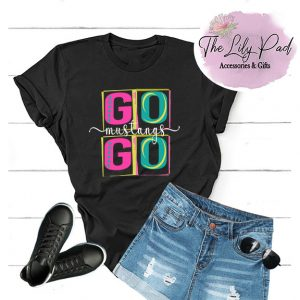 Go Go Mustangs Funky Block Letter Graphic Tee