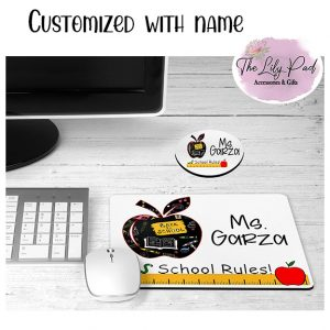 School Rules Custom Teacher Mousepad Coaster Desk Set