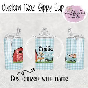 Boy Farm Scene with Name 12oz sippy cup