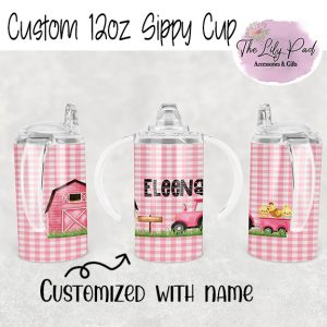 Girl Farm Scene with Name 12oz sippy cup