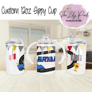 Racing Theme with Name 12oz sippy cup