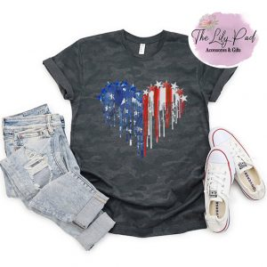 Dripping American Flag Heart Camo Graphic Tee