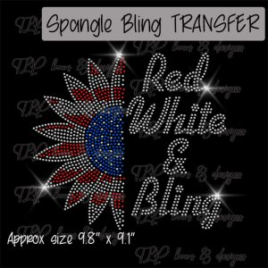 Red White and Bling Sunflower -SPANGLE