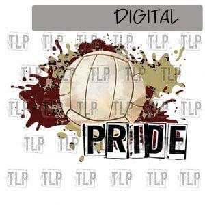Maroon V Gold Cheetah Splatter Volleyball Pride Sublimation Printable File