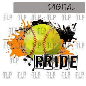 Orange Black Cheetah Splatter Softball Pride Sublimation Printable File