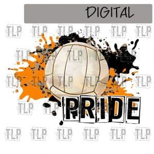 Orange Black Cheetah Splatter Volleyball Pride Sublimation Printable File