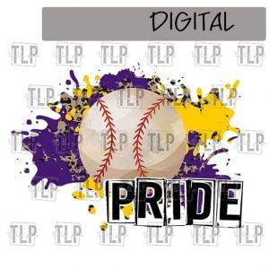Purple Yellow Gold Cheetah Splatter Baseball Pride Sublimation Printable File