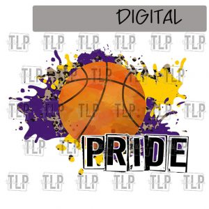 Purple Yellow Gold Cheetah Splatter Basketball Pride Sublimation Printable File