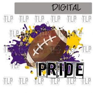 Purple Yellow Gold Cheetah Splatter Football Pride Sublimation Printable File