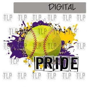 Purple Yellow Gold Cheetah Splatter Softball Pride Sublimation Printable File