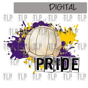 Purple Yellow Gold Cheetah Splatter Volleyball Pride Sublimation Printable File