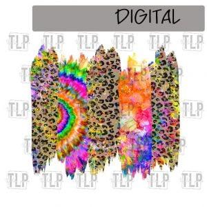 Tie Dye Cheetah Brush Stroke Background Sublimation Printable File