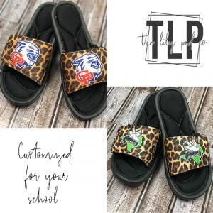 Custom Cheetah School Mascot Sandal-Slides