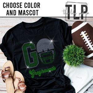 Go Football Helmet with Glitter Mascot